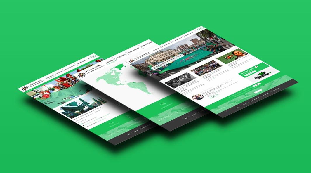 Création d'un site internet multilingues sous le cms WordPress multisite pour la Via Campesina et formation à l'outil backoffice..